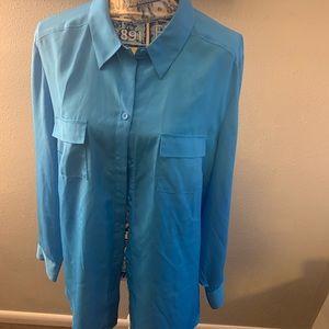 Ann Taylor blue button up top size 18